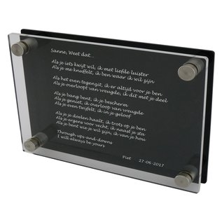 Rouwartikel plexiglas 300x200mm of 200x300mm