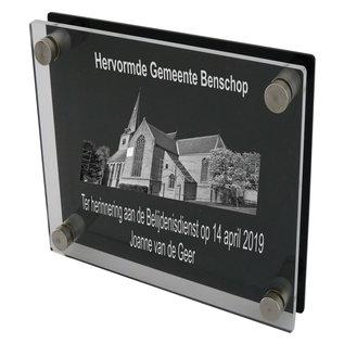 Transparant/zwart plexiglas 300x300mm