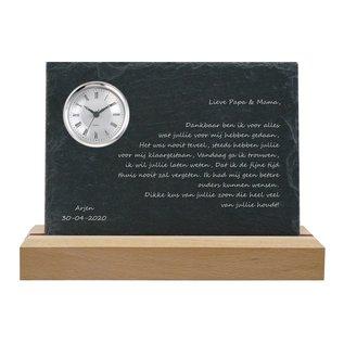 Leisteen met quarzklok, 30x20x0,5cm