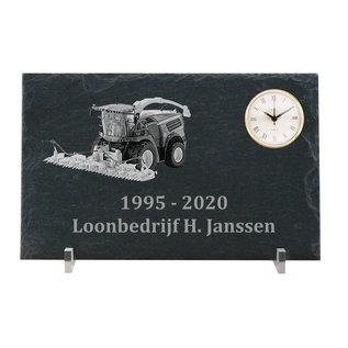 Leisteen met quarzklok, 40x25x0,5cm