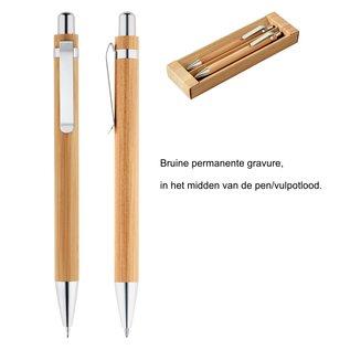 Balpen en vulpotlood van bamboe