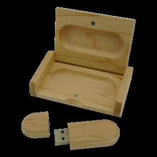 Houten USB stick, incl. houten opbergdoosje, 32GB