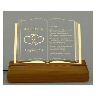Plexiglas met LED-verlichting in boekvorm, 28cm