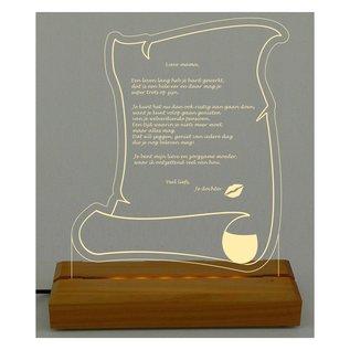 Perkamentrol van plexiglas met LED-verlichting, 28cm