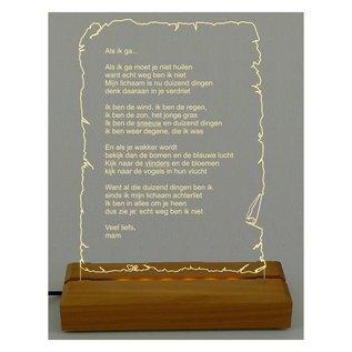 Plexiglas met LED-verlichting, briefpapier staand, 28cm