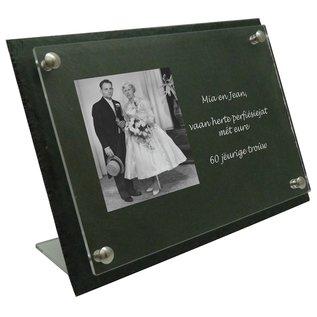 Leisteen met plexiglas, incl. 2 standaards, 40x25cm