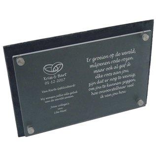 Leisteen met plexiglas, 40x25cm