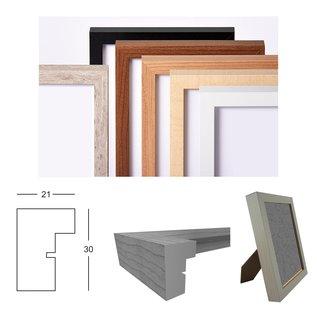 Fotolijst met plexiglas en LED-verlichting, licht grijs