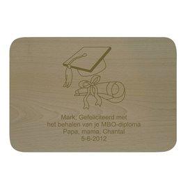 Houten bord, rechthoekig, liggend, 31x21,5cm