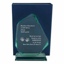 Glazen award, 220x150mm, incl. geschenkdoos
