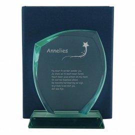 Glazen trofee, 220x160mm, incl. geschenkdoos