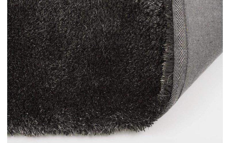 Ross 26 - Rond hoogpolig vloerkleed in een mix van Antraciet en Grijs