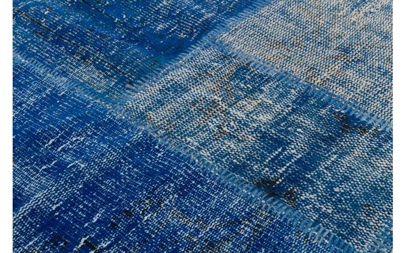 Silkeborg 36 - Patchwork vloerkleed met Donkerblauwe tinten