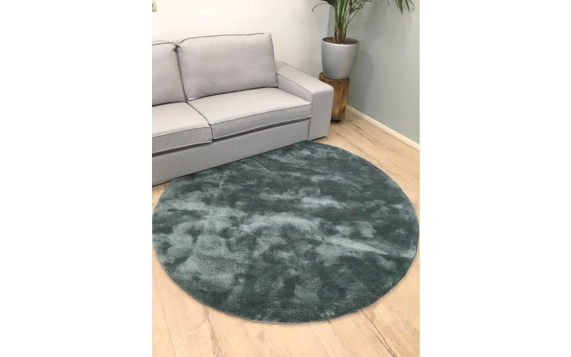 Sandro 32 - Rond hoogpolig vloerkleed in Faded Green