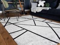 Hailey 25 - Prachtig geometrisch vloerkleed in steengrijze en zwarte kleursamenstelling