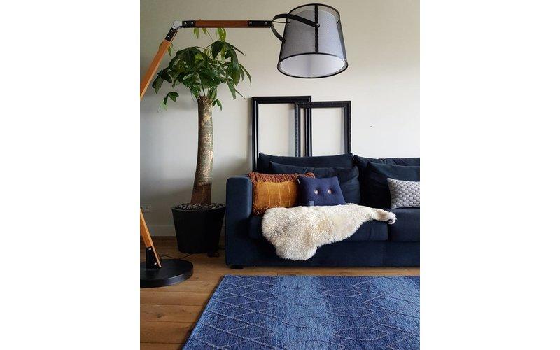 Bido 34 - Prachtig design vloerkleed in blauwe en taupe kleurensamenstelling
