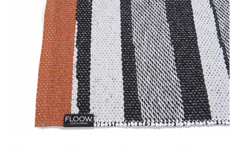 Black & White (Orange) - Uniek buiten vloerkleed