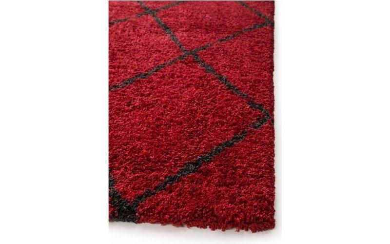 Lenza 45 - hoogpolig vloerkleed in het rood