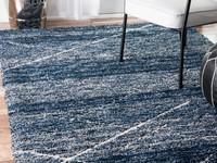 Hoogpolig vloerkleed in het blauw