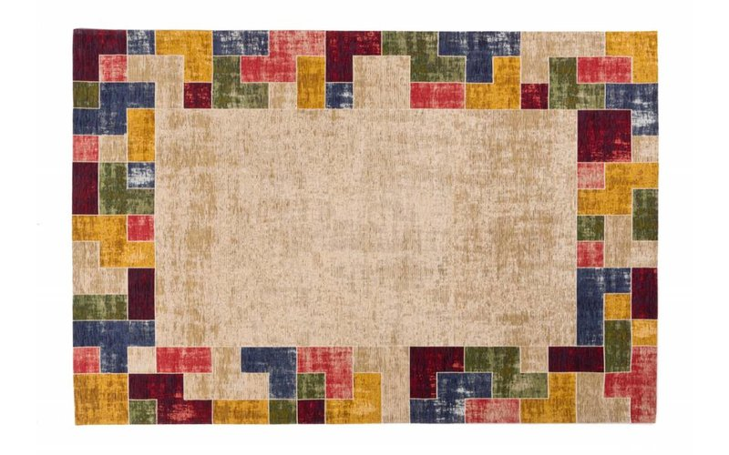 Gaia 13 - Vintage vloerkleed in Beige en Multikleuren