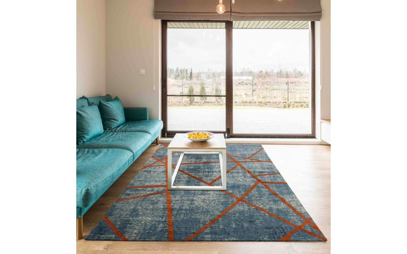 Hailey 33 - Prachtig geometrisch vloerkleed in azuurblauwe en oranje/rode kleursamenstelling