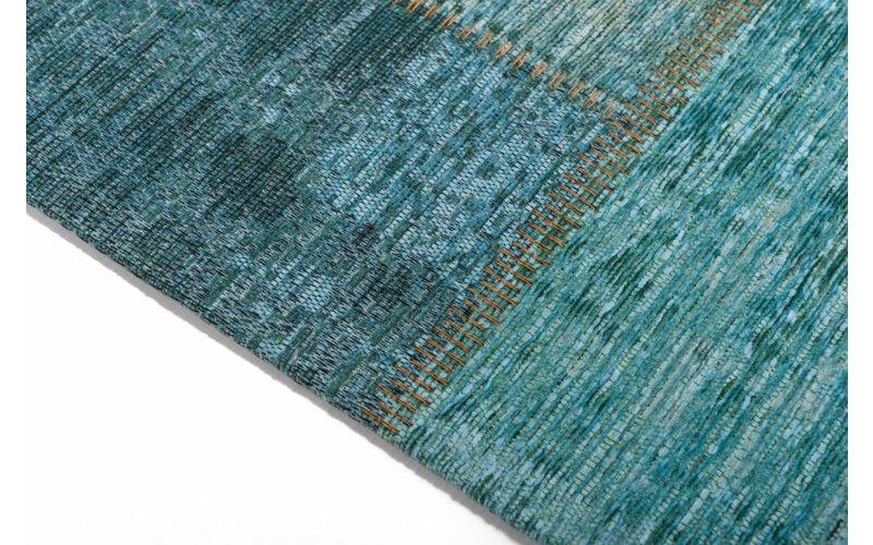 Pognum 33 - Uniek vintage vloerkleed in turquoise/blauw kleurstelling
