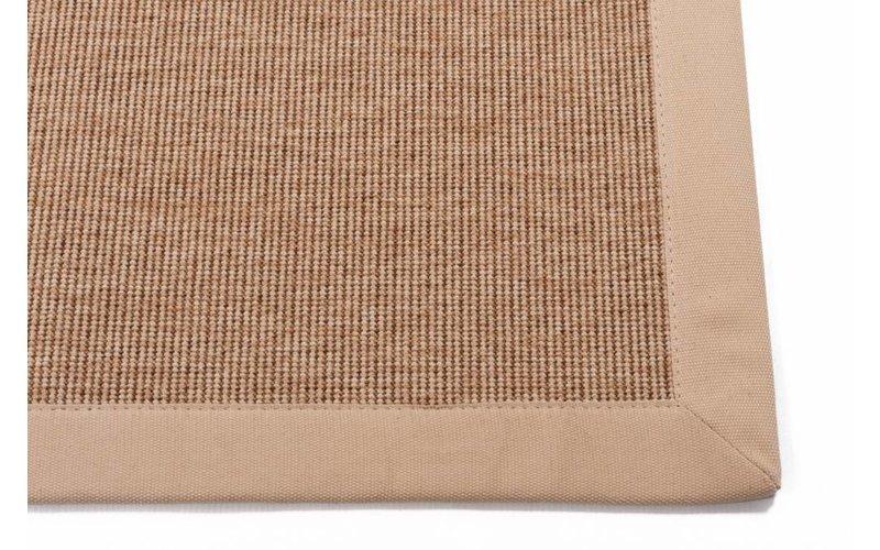 Sisal Outdoor 12 - Sisal vloerkleed voor buiten in beige met crème band