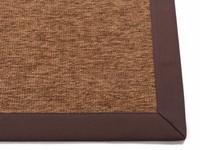 Sisal Outdoor 18 - Sisal vloerkleed voor buiten in donkerbruin met bruine band