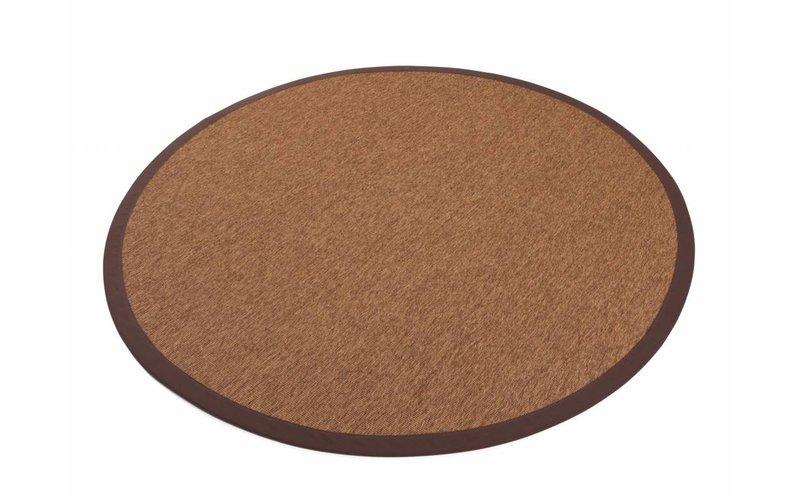 Sisal Outdoor 18 - Rond sisal vloerkleed voor buiten in donkerbruin met bruine band