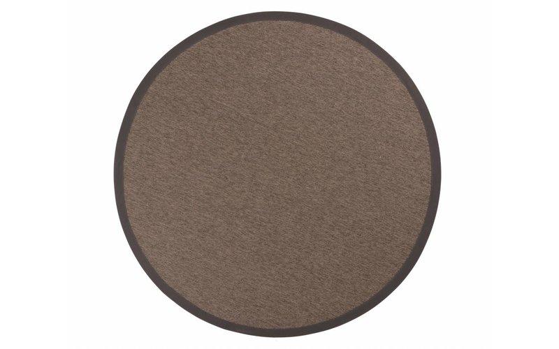 Sisal Outdoor 23 - Rond sisal vloerkleed voor buiten in donkergrijs met donkergrijze band