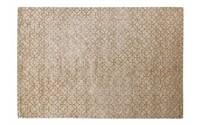 Noma 62 - Uniek geometrisch vloerkleed in steengrijze en donker okergele kleurstelling