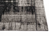 Enzo 25 - Vintage patchwork vloerkleed in zwarte kleurstelling