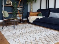 Bido 16 - Prachtig design vloerkleed in okergele kleursamenstelling