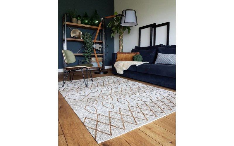 Bido 62 - Prachtig design vloerkleed in okergele kleursamenstelling