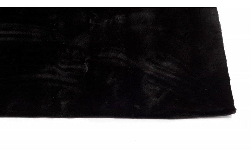 Fay Black - zacht hoogpolig vloerkleed in zwart