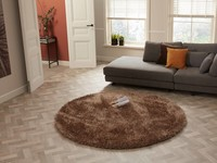 Chester 13 - Rond hoogpolig vloerkleed in Bruine kleurensamenstelling