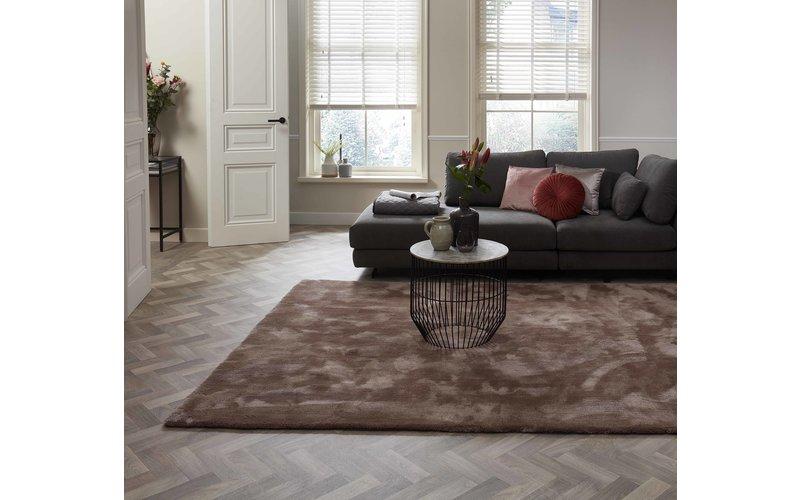 Sandro 15 - Modern hoogpolig vloerkleed in bruin/grijs