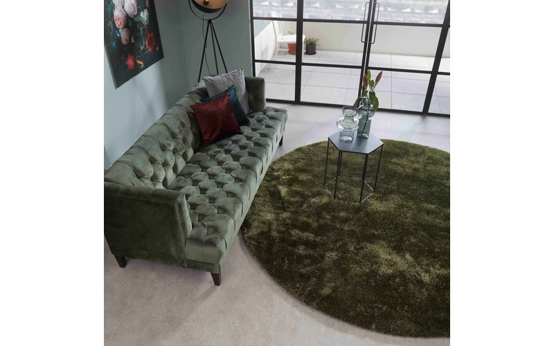 Ross 55 - Rond hoogpolig vloerkleed in Antraciet/Groene kleurensamenstelling