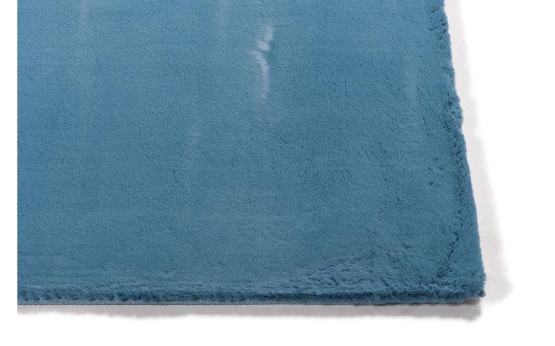 Fay - zacht hoogpolig vloerkleed in azuurblauw-