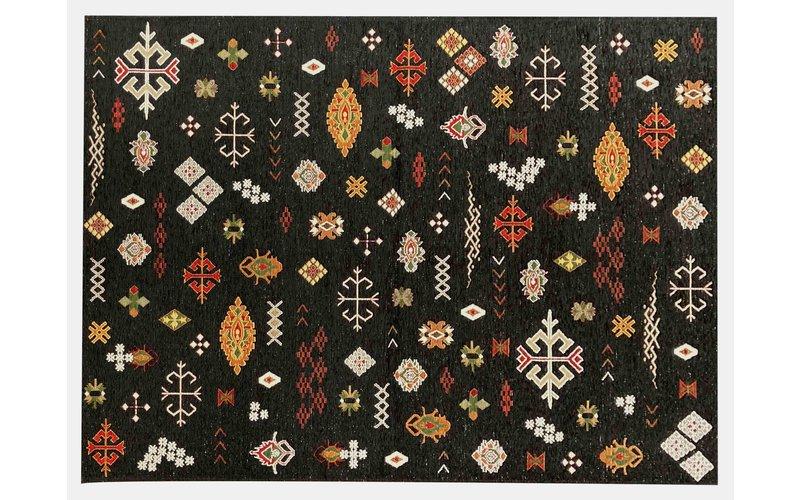 Bolivian Etis Black - Stoer kleed met Azteken print by Fred van Leer