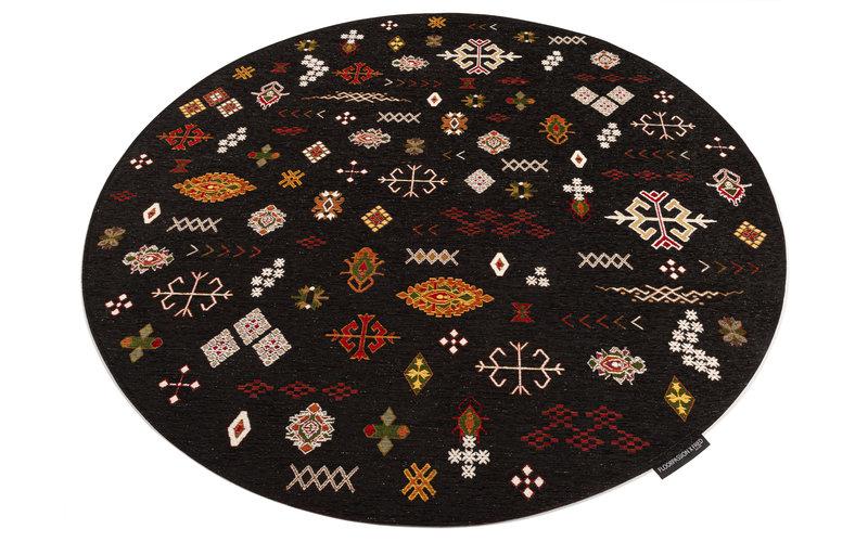 Bolivian Etis Black - Rond Vloerkleed Floorpassion X Fred