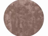 Sandro 15 - Rond velvet vloerkleed in bruin/grijs