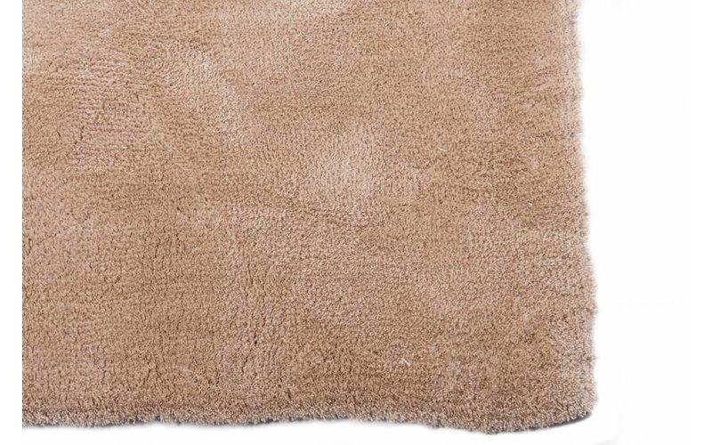 Sandro 12 - Rond hoogpolig vloerkleed in beige