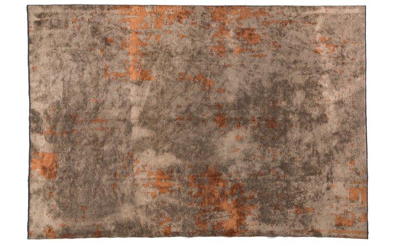 Velours vintage vloerkleed Rafael 63 in natuurlijk bruin / oranje