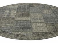 Enzo 24- Rond vintage vloerkleed antraciet grijze kleurstelling