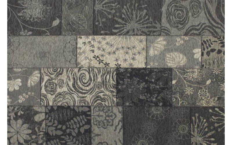 Chatel 24 - Patchwork vloerkleed met prachtig bloemenpatroon in het zwart
