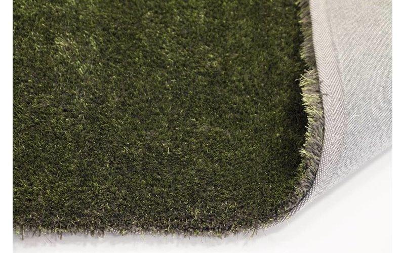 Ross 55 - Hoogpolig vloerkleed in antraciet/groene kleursamenstelling