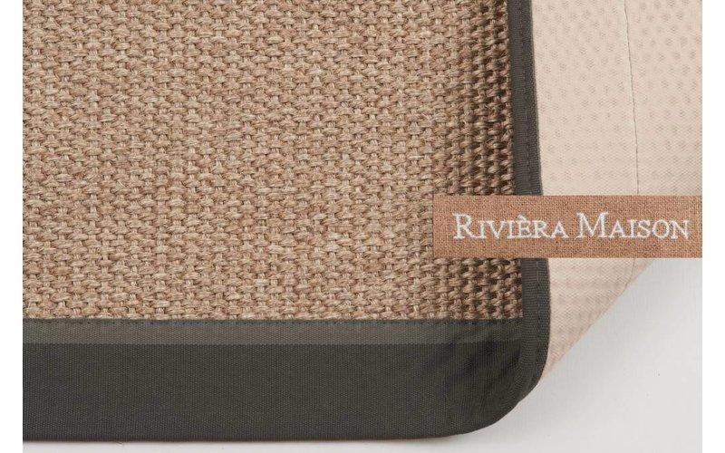EdgarTown Grey RM23 - Naturel/Grijs sisal vloerkleed met donkergrijze band van Rivièra Maison