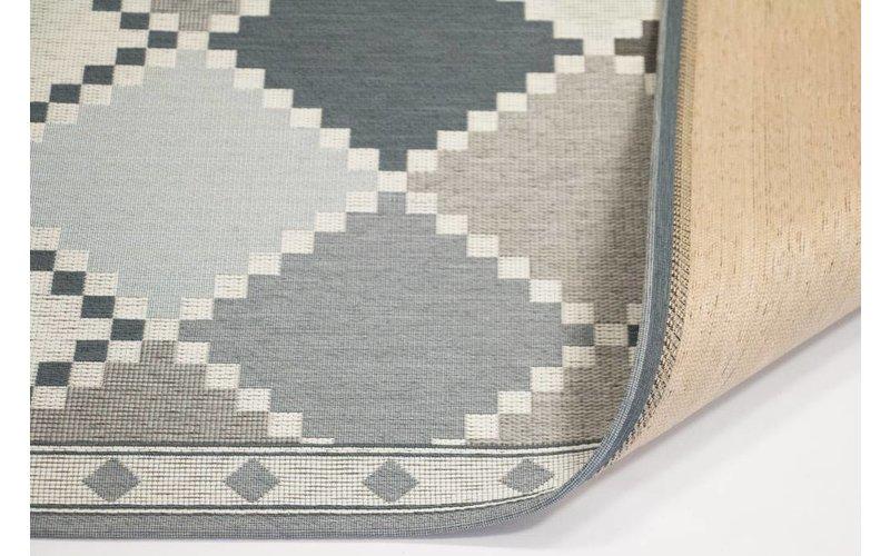 Kelim Arto 21 - Geometrisch vloerkleed in Blauw/Beige kleurstelling