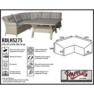 Raffles Covers Cover for an L-shaped dining sofa, 275 x 275 x 95, H: 100 / 65 cm